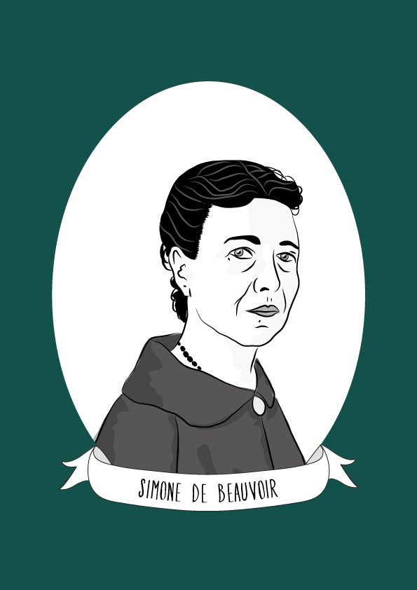 Existentialist Art Feminist Icon Existential Bag Simone Beauvoir| Tote Bag Philosophy Hand-Made Stencil
